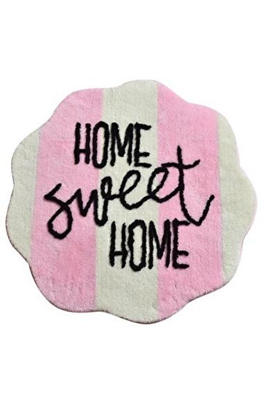 Chilai Home Sweet Home Pembe Yuvarlak Banyo Paspası Akrilik Halı 90X90 Cm Pembe